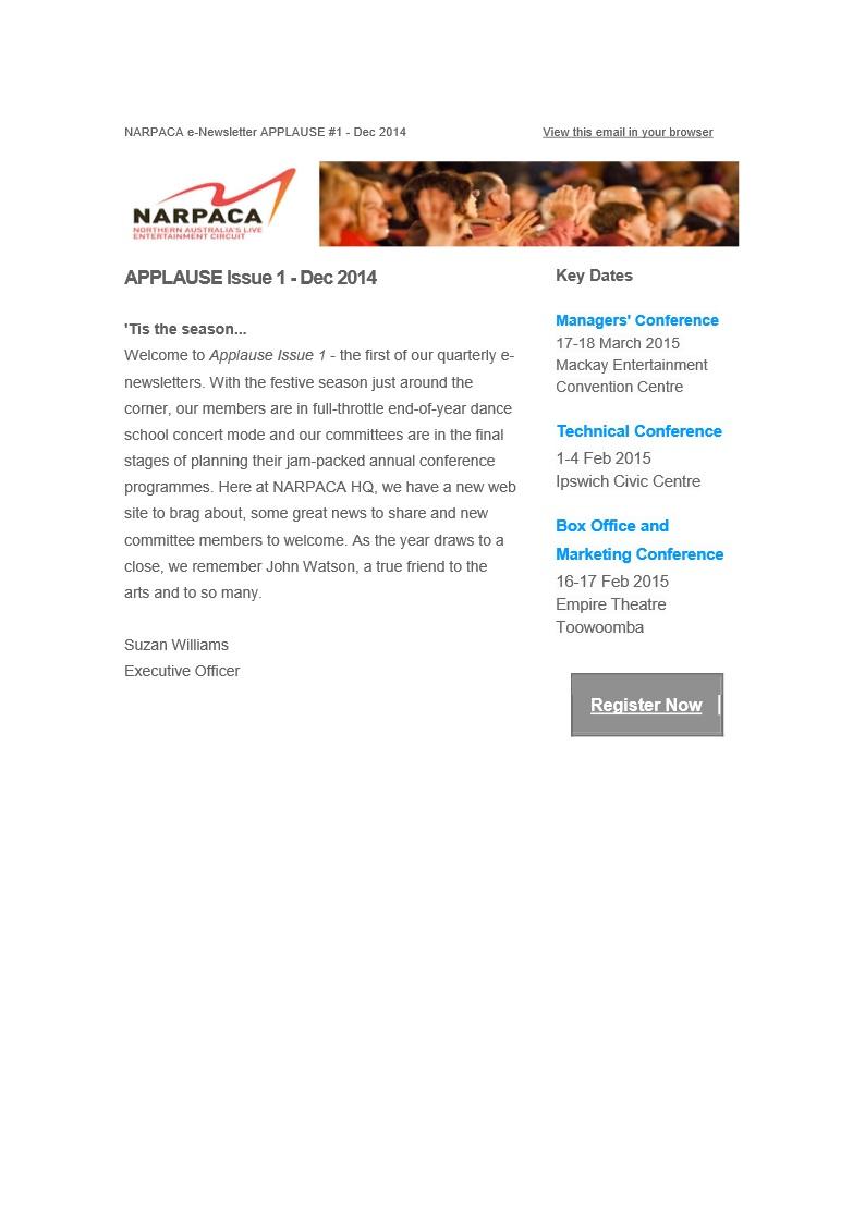 E-Newsletter #1 - December 2014