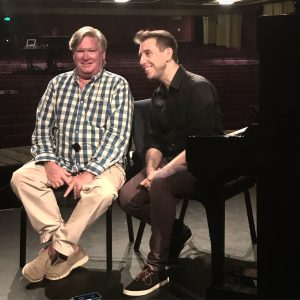 Simon Gallaher (L) and Musical Director Craig Renshaw inside the Empire Theatre.